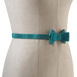White House Black Market Lotus suede bow belt